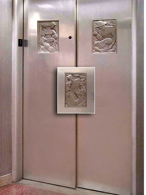 Sculpted frieze art on elevator doors