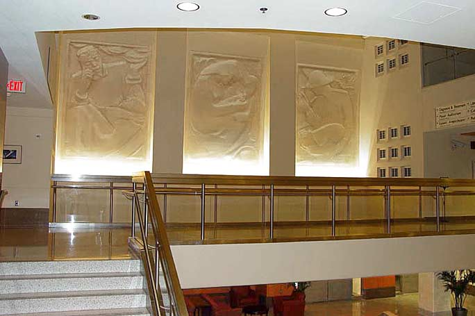 Photo of mezzanine with frieze wall murals